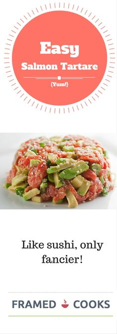 This easy recipe for salmon tartare with avocado and sesame seeds is like your favorite sushi, only fancier and shareable! Baked Salmon Recipes, Avocado Recipes, Veggie Recipes, Fish Recipes, Seafood Recipes, Healthy Recipes, Veggie Food, Salmon Tartare Avocado Recipe, Tartare Recipe