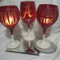 Check out this item in my Etsy shop https://www.etsy.com/listing/207727197/alabama-3-set-wine-glass-candle-holder