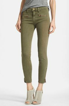 Current/Elliott 'The Soho Zip Stiletto' Skinny Jeans (Army) available at #Nordstrom