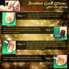 #Nail_Art #Nail_Art_Design #Studded_Gold_Glitter_Nail_Art_Design #Khoobsurati #Infographics