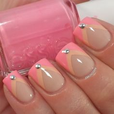 Pretty Nude and Pink Nail Design With Studs