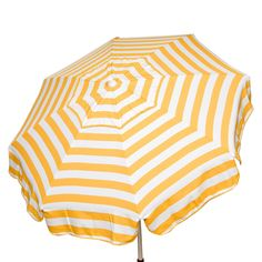 You and your family will have it made in the shade with the Parasol 6' Italian Aluminum Collar Tilt Beach Umbrella in yellow and white stripe. This generous, 6-foot wide umbrella boasts a wind vent to help keep air circulating and your umbrella from blowing away. Plus, you can easily orient it any way you want with a 3-position collar tilt. Made from sturdy, weather-resistant aluminum with an acrylic canopy.