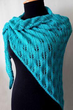 Knitted viscose aqua shawl, knitted sea-green wrap, knitted viscose shawl, knitted women's wrap by SanniKnitting on Etsy