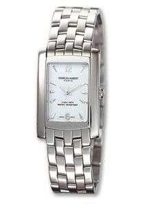 Charles Hubert Rectangle Stainless Steel Men's Watch