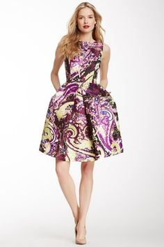 isaac mizrahi Flared Print Dress