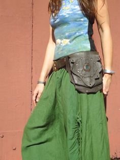 Steampunk leather utility belt bag festival belt