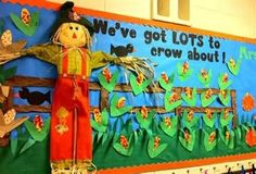 We_Are_Teachers_Fall_Bulletin_Board_Scarecrow Looking for inspiration for fall bulletin boards or classroom doors? Try one of these fall themes or Halloween bulletin board ideas. November Bulletin Boards, Halloween Bulletin Boards, Back To School Bulletin Boards, Preschool Bulletin Boards, Bulletin Board Display, Classroom Bulletin Boards, Bullentin Boards, Classroom Ideas, Classroom Door