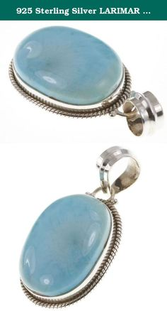 """925 Sterling Silver LARIMAR Pendant, 1.5"""". BeadsTreasury Product Description BeadsTreasury provides our customer with high quality handcrafted jewerly in affordable price. Most of our jewelry are handcrafted, thus every pieces of jewelry is UNIQUE. This 23MM LARIMAR gemstone is crafted in 925 Sterling Silver Pendant. Its weight is 8.50g. What is 925 Sterling Silver? 925 Sterling Silver jewelry is composed with 92.5 percent silver and 7.5 percent copper. It is found to be the good…"""