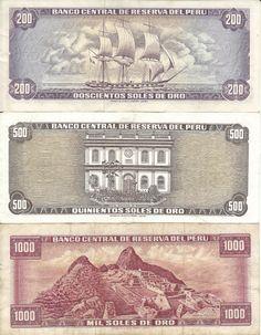 Billetes de 200, 500 y 1000 soles de oro antiguos (reverso)