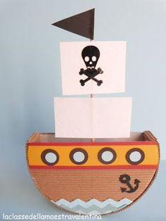 laboratori per bambini  barca pirata cartone carta