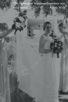 One our real brides Ashley wearing our Monique gown with stunning lace 3/4 sleeves. Bertossi Brides at Paddington Weddings. www.paddingtonweddings.com.au