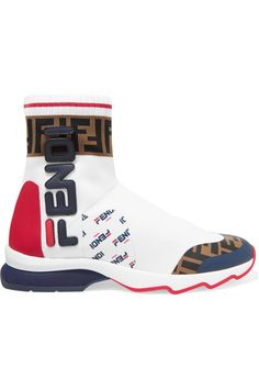 Fendi - Logo-appliquéd Rubber-trimmed Stretch-knit Slip-on Sneakers - White Slip On Sneakers, High Top Sneakers, Fendi Backpack, Collection Services, J Brand Jeans, Cycling Shorts, Cool Boots, Logos, Red Leather