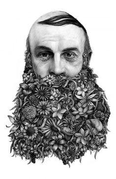 Jérémy Schneider, Le barbu, Pierre noire sur Canson, 50x70 cm ©