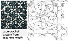 Lace crochet pattern from separate motifs