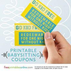 vintage style free babysitting coupon template babies pinterest