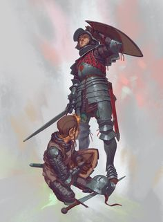 """""""Come try me Ser Duncan! It seems my cousin is not ripe yet!"""" Ser Steffon Fossoway and his younger cousin Raymun of that same house first encounter Dunk at a practice melee at Ashford meadow. Raymun has been knocked down, and his angry retort sums up. Fantasy Male, Fantasy Armor, High Fantasy, Medieval Fantasy, Armor Concept, Concept Art, Character Portraits, Character Art, Knight Drawing"""