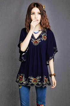 Plus Size V-Neck Embroidered Batwing Sleeve Women's BlouseBlouses | RoseGal.com