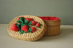 Vintage Wicker Strawberry Sewing Basket.