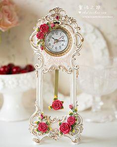 欧式田园复古客厅桌钟时尚创意树脂玫瑰花摆件卧室钟表台钟座钟9
