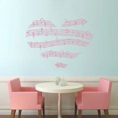 Amazon.com - TGSIK DIY Love Heart Shape Wall Decals Stickers Music Note Home Decor Vinyl Removable Self-adhesive Clef Pattern Mural Art for Teen Girls Boys Kids Children Bedroom Living Room Family Decoration Black - Nursery Wall Decor