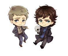 BBC Sherlock #fanart: baby Sherlock & John..so cute