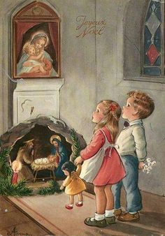 Children at Christmas souvenir