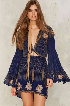 Nasty Gal Collection Bead Your Love Scalloped Skirt - Bottoms