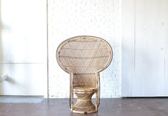 Oversized Wicker Peacock Chair: Gorgeous oversized vintage wicker peacock chair.  This beauty has ornate details and is a perfect boho chic choice for lounge areas and photo shoots.