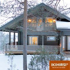 Вид снаружи. Проект CH3-194, #деревянныйдом, #Ikihirsi. http://www.ikihirsirussia.ru/iki-house/kombinirovannye-iki-doma/iki-dom-ch3-194.html