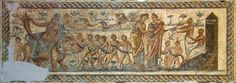 From the villa of the Nile Mosaic, near Lepcis Magna. Ancient Rome, Ancient Art, Ancient History, Lion Hunting, Phoenician, Minoan, North Africa, Mosaic Art, Egypt