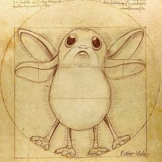 Star Wars: Vitruvian porg by Esther Viola Star Wars Fan Art, Star Wars Film, Star Wars Meme, Star Trek, Star Wars Comics, Star Wars Zeichnungen, Star Wars Drawings, Star Wars Tattoo, Star Wars Wallpaper