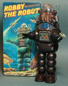 Main Street Toys - 1993 Billiken Brown Wind Up Robby Robot Vintage Robots, Retro Robot, Retro Toys, Vintage Toys, Vintage Space, Robby The Robot, Toy Rocket, Arte Robot, Cool Robots