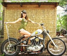 "ironhead sportster bobber and ""Betty"" bangs!"