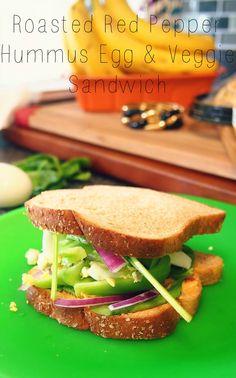 Roasted Red Pepper Hummus Egg & Veggie Sandwich.