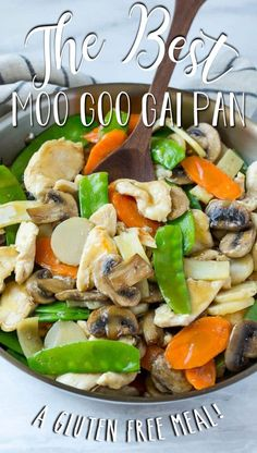 This recipe for moo goo gai pan is a classic dish of chicken and vegetables stir fried with a savory sauce.
