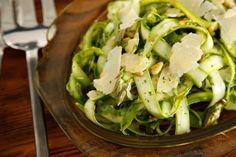 Make this shaved asparagus salad recipe when asparagus season peaks: Thin slices of raw asparagus are coated in a lemon vinaigrette.