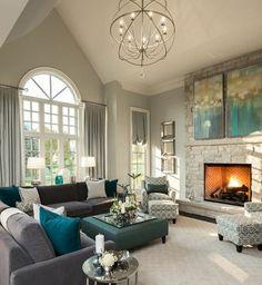 25 inspirations déco en bleu ciel   Salons, Living rooms and Sunroom