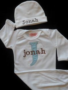 Personalized Baby Boy Layette Gown and Personalized Beanie Hat Newborn Take Home Outfit Baby Boy Clothes Baby Gift Set