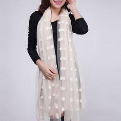Stylish Polka Dot Embroidery Chiffon Scarf For Women