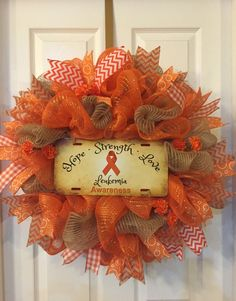 Your place to buy and sell all things handmade Childhood Cancer Awareness Month, Mesh Ribbon Wreaths, Leukemia Awareness, Thanksgiving Gifts, Valentine Wreath, Holiday Crafts, Holiday Wreaths, Christmas Gifts, How To Make Wreaths