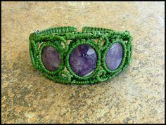 Amethyst Three Stone Macrame Knot Wire Bracelet by krabistoneshop