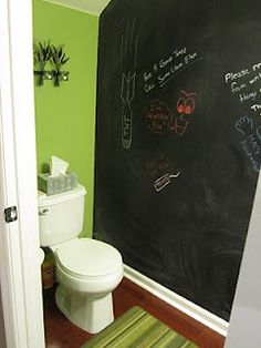 Chalkboard bathroom wall. This could be so funny. Possibly for the half bath in the basement we plan on adding, ya know for the kiddies :)