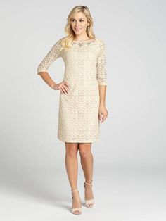 """Laura Petites: for women 5' 4"""" and under. Look lovely in this lace dress. The beaded neck adds a touch of glamour to this"""