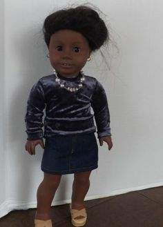 Purple Passion Set Skirt Top Necklace for American Girl Dolls | eBay--from newyorkdolldesigns, isn't this sweet on Addy? Love the velour top, mini skirt and handmade necklace! Another hit from Holly!