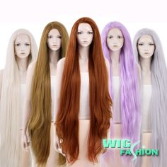 """20""""-39"""" Long Straight Brown / Purple / Blonde Lace Front Yaki Synthetic Wig #WigFashion #FullWig"""