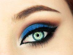 'Feeling Blue' look by Szfkaaa using Makeup Geek's Bada Bing, Cocoa Bear, Ice Queen, Neptune and Vegas Lights Palette eyeshadows along with Immortal gel liner.