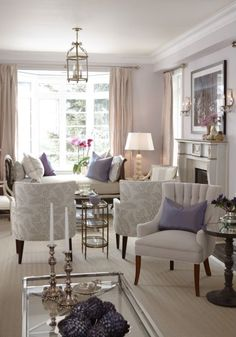 sarah richardson sarah house 4 living room pink lavender- Two Seating areas in a long/ narrow room. Narrow Living Room, Home Living Room, Living Room Designs, Living Room Decor, Living Spaces, Design Salon, Home And Deco, Living Room Inspiration, Interior Inspiration