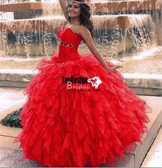 2017 New Sweet 15 Ball Gown Red Prom Dress Gown Vestidos De 15 Anos