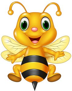 Illustration of Vector illustration of Cartoon funny bee flying. isolated on white background vector art, clipart and stock vectors. Cartoon Bee, Cute Cartoon, Cute Bee, Bee Art, Cute Clipart, Bee Happy, Illustrator, Funny Cartoons, Rock Art