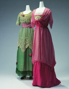 """Jeanne Lanvin  Evening Dress (Left)  1911  Green silk chiffon and tulle lace; floral embroidery; rose flower ornament.  Evening Dress (Right)  1911  Beige silk tulle and pink silk chiffon; floral embroidery of beads and fake pearls; gold cord embroidery on skirt.  These dresses have a high waist silhouette, which is representative of the early 1910s. This silhouette spread among designers, starting from Paul Poiret's """"Lola Montez"""" dress in 1906. Distinctive, vivid colors on delicate m"""